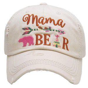 Mama Bear White Distressed Adjustable Baseball Hat